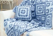 Crochet granny squares denim