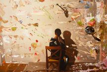 """Exhibition """"ALEJANDRO MONDRIA"""" / O trabalho do artista mexicano Alejandro Mondria é silencioso, voltado para o pensamento, para a reflexão. Suas abordagens dividem-se entre aproximações e fugas da realidade. Distante da aparente solidão do ser humano representado em cores neutras, formas abstractas multicoloridas flutuam no ar. Estamos diante de um lugar imaginário, perdido nas lembranças do artista, em que tudo pode existir."""