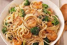 Spaguetti brócoli camarón