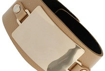 Beige Leather Plate Bracelet