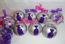 Bridal Party Ornaments - www.samdesigns.net / Hand Painted Personalized Bridal Party Ornaments - will be painted to match your dresses and flower details.