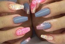 Glitter sorbet summer nails
