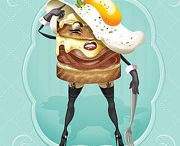 Illustrations / Retro Food art, pin-up style, kitschy world All images created by ©Kellyportfolio, 2016