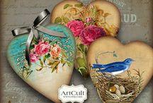 corazones y tags