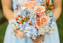 Coral peach and light blue wedding