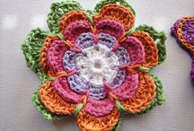 Crochet flowers and leaf