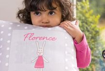 Kids personalised cushions, handmade to order in the UK from www.izabelapeters.com.