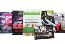 Leaflets & Flyers / Great for promoting products and services and can be distributed by hand, by post, inserted in local newspapers, left in shops, bars, in community centres and so on!
