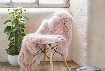 Pink Sheep Skin / A collection of inspiration images featuring pink sheep skin throws and pillows.