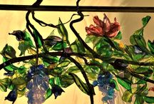 Flameworked Flowers ~ Stained Glass Windows / Stained glass flowers we created using our flame working processes.
