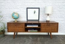 Our work - TV/media stands and credenzas with sliding doors / Solid wood pieces with plenty of space for all your media and entertainment units. We make handcrafted pieces influenced by Danish Modern style, but also heavily inspired by the vintage, minimalist aesthetic of downtown New York and Brooklyn. Made with love in NYC.