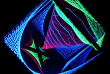 Stringart - Psy Deco / Hand-crafted Stringart glow under black light.