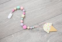 Baby teether / Silicone teething necklace, Nursing necklace, Pacifier clip