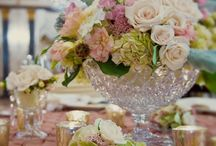Wedding theme: A Vintage Touch / Lace. Velvet. Old world luxury. Soft, delicate and pretty. Soft, muted colors like dusty rose, mauve and gray-blue. Structured floral designs with delicate blooms.