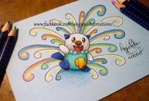 Pokemon Dessins Crayons de Couleur / Mes Créations Pokemon, Dessins aux Crayons de Couleurs sur feuilles colorées :) Commandes Possibles sur Facebook : Angie Poke Créations