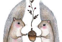 Theme - squirrels / Squirrels illustrations