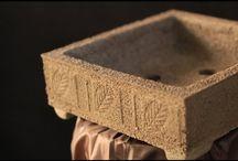 Vasos de cimento com isopor