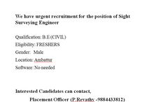 job offers for BE CIVIL Students can apply for this job