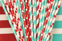 Red & turquoise decor