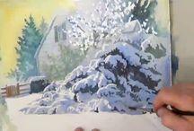 Trær med snø