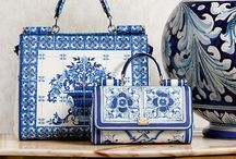 Handbags - Blue tile / Handbags with design of blue tiles, meditorian majolika