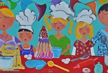 Schilderijen Kunst  Kunstenares  Mir Mirthe Kolkman / Acryl handgeschilderde schilderijen waarin de familie centraal staat .Opgezet in kleurrijke samenstelling door kunstenares Mir/ Mirthe Kolkman
