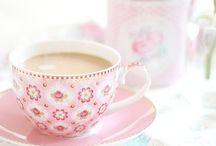 Tea cups and coffee
