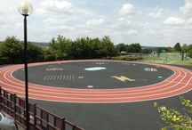 Playground Markings and Running Tracks / If your playground is looking a bit tired, breath some new life into it using our colourful playground markings! Or why not add your school or council logo to the floor of the entrance into your playground or outdoor gym? We stock thermoplastic markings and acrylic coatings.