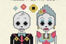 Day of dead cross stitches