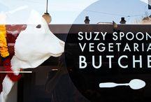 Vegan/Vegetarian Food / Suzy Spoon's Vegetarian Butcher is a vegetarian deli café on King Street Newtown Sydney Australia. Spoons hand make their own brand of vegan Sausages, Burger Patties, Schnitzels, Seitan, Smokey Rasher and Bolognese. Their products can be bought in packs and taken home to cook, or eaten at the cafe, in the form of delicious meals such as burgers, spaghetti bolognese, lasagne, breakfasts and lots more.