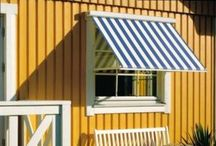 Drop Arm Awnings / Ideal solution for shading over windows at any level as the drop arms of the awning can be fitted in any position to allow for the desirable level of shade to be achieved.