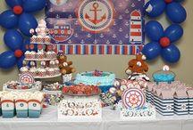 Festa Marinheiro / Festa infantil no tema Marinheiro (também com ursinhos). Ideias de bolo, doces, cupcackes, decoração e papelaria para fazer uma festa de menino no tema Marinheiro.