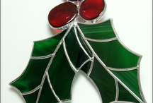 Stained glass Christmas ornaments and deco