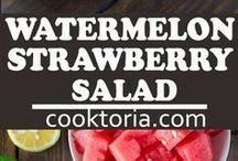 watermelon strawberry with feta