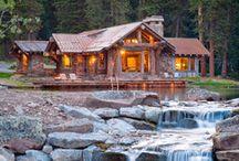 chaty drewniane kamień z drewnem