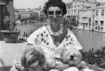 """Peggy Guggenheim / Marguerite """"Peggy"""" Guggenheim (1898 – 1979) was an American art collector, bohemian and socialite. She was the daughter of Benjamin Guggenheim, and the niece of Solomon R. Guggenheim, who would establish the Solomon R. Guggenheim Foundation. Peggy Guggenheim created a noted art collection in Europe and America primarily between 1938 and 1946. She exhibited this collection as she built it and, in 1949, settled in Venice, where she lived and exhibited her collection for the rest of her life."""