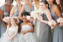 Gray Bridesmaid Dresses / A collection of silver and gray dresses for bridesmaids dresses. Perfect for a grey #wedding color scheme!