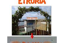 Bagni Etruria / Elaborazione del logo per lo stabilimento balneare Bagni Etruria di Castiglioncello (LI) con bozze prospettiche.