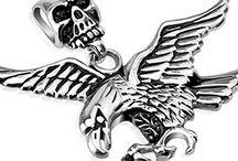 Biker Skull Pendants / Formidable biker pendants and skull pendants, crafted in stainless steel. Available from www.badboyjewellery.com