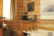 Wood Bathroom / Wooden bathrooms inside timber frame homes by Carpenter Oak Ltd.