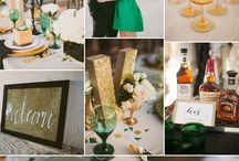 gold green corall wedding