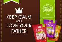 Happy Father's Day / Make Dad's Day. Dark chocolate covered Prunes, Apricots and Cherries, dark chocolate Wild Berries and Tropical Fruits will perfectly express your love and thanks.