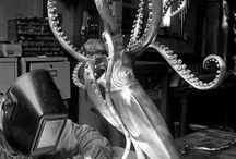 Kirk McGuire Bronze Sculpture / Amazing bronze marine life sculpture & tables.