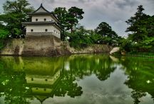 Shibata Castle, HQ of the Shibata Clan Since 1598. / Shibata Castle (新発田城) is a castle in Shibata, Niigata Prefecture, Japan. Construction of Shibata Castle was started in 1598 by the first clan leader, Mizoguchi Hidekatsu, and was completed in 1654. The Omote mon gate (表門) and Sumi yagura (隅櫓) turret remain from the old days. The wall outside the turret, called Namako kabe (海鼠壁), is waterproof. The stone wall is made of regularly piled stones in the manner of Kirikomihagi (切込矧ぎ).(Source: Wikipedia)