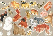 Bear & Badger / watercolor, acrylic, colour pencils, digital illustrations characters, animals