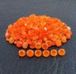4mm Round Natural Carnelian Faceted Cut Orange Color Loose Gemstone
