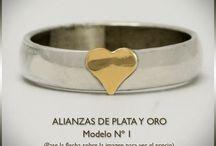Alianzas de Plata y Oro Doublé / Modelos de alianzas de plata y oro doublé. Alianzas de compromiso o casamiento.