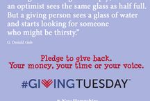 #GivingTuesday! / Pins designed to inspire generosity!  On December 3, join the national movement and pledge to give back. Start the holiday season by giving your money, your time or your voice to a cause that is important to you.