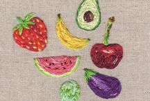 fruits embroidered