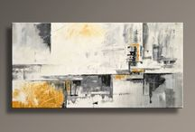 Black grey yellow abstract paintings